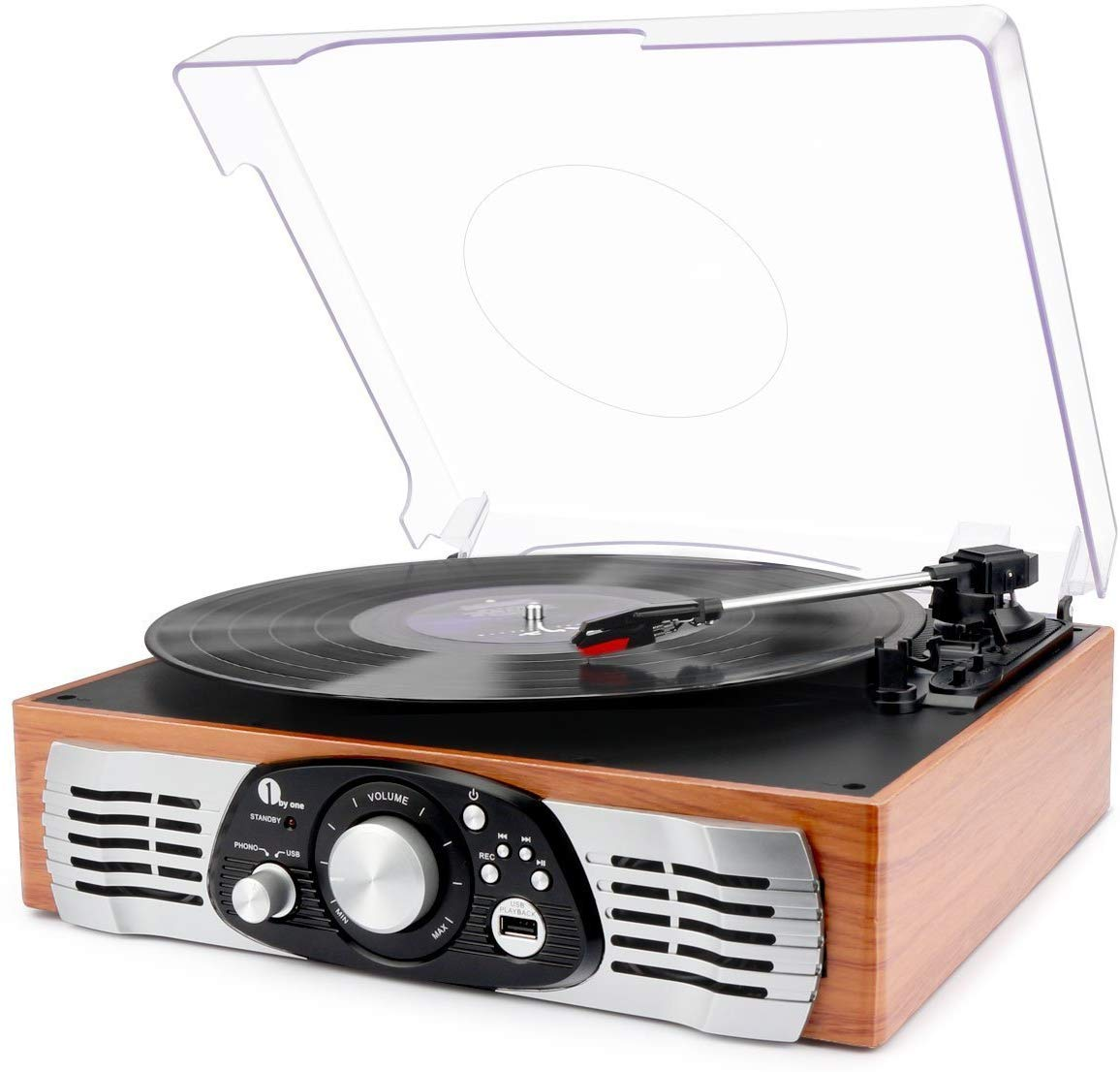 Platine Vinyle 1 BY ONE Tourne Disque Transportable Immitation Bois